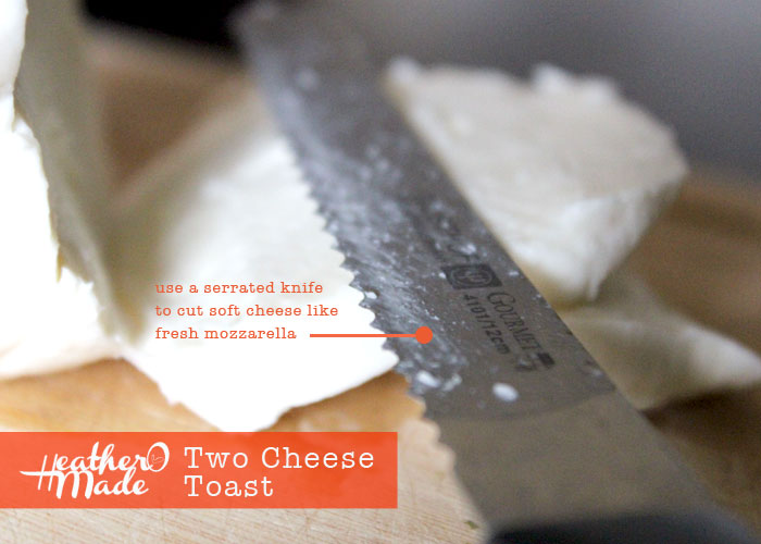 use a serrated knife to cut soft cheese like fresh mozzarella. heatheromade. cooking tip.