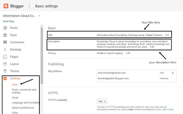 blogspot seo setting panel