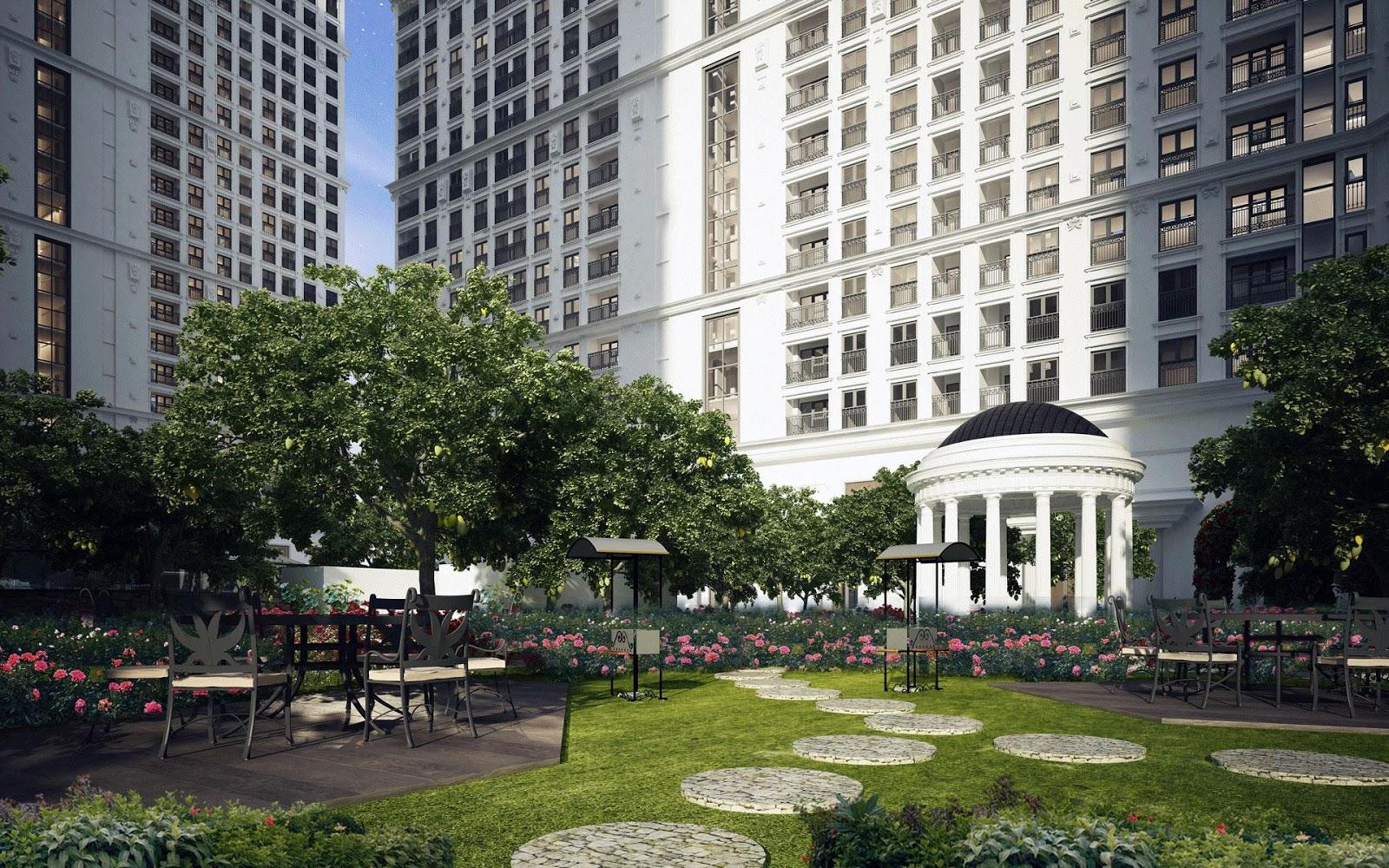 Khuôn viên cây xanh tại dự án chung cư The Emerald Đình Thôn
