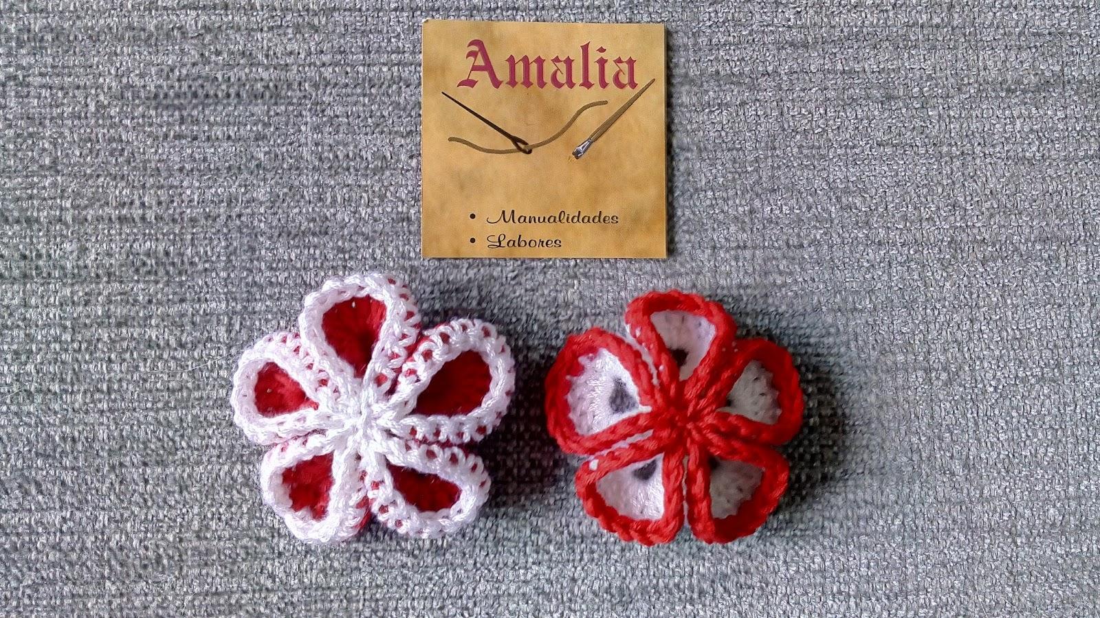Manualidades y Labores Amalia: Flor 3D Crochet fácil