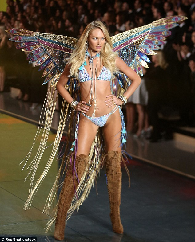 Candice Swanepoel sizzled in lingerie and glamorous wings at the 2015 VS Fashion Show