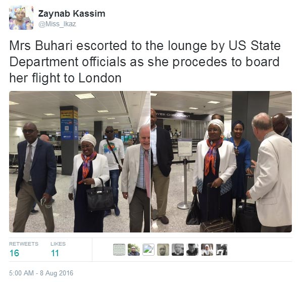 Aisha Buhari reportedly flies out of United States, heads to London