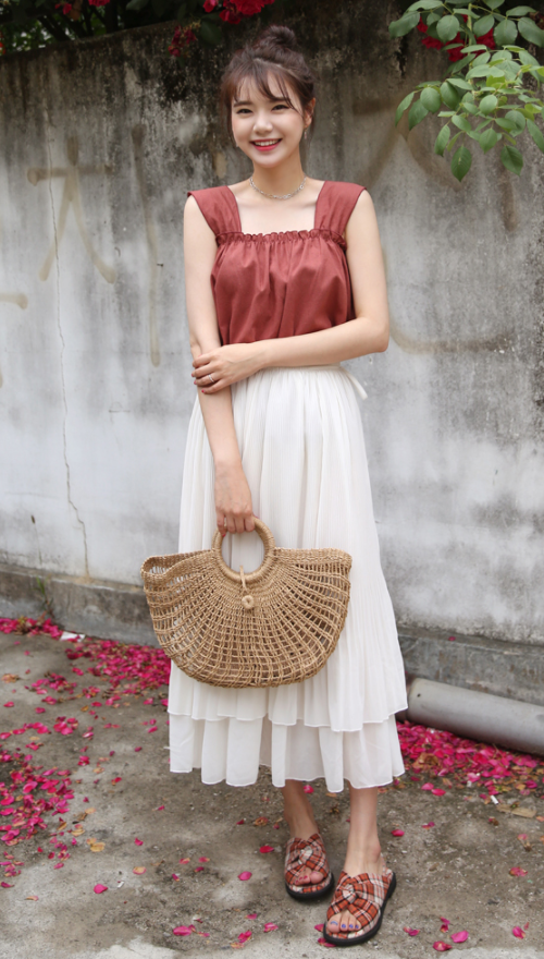 Ruched Linen Sleeveless Top