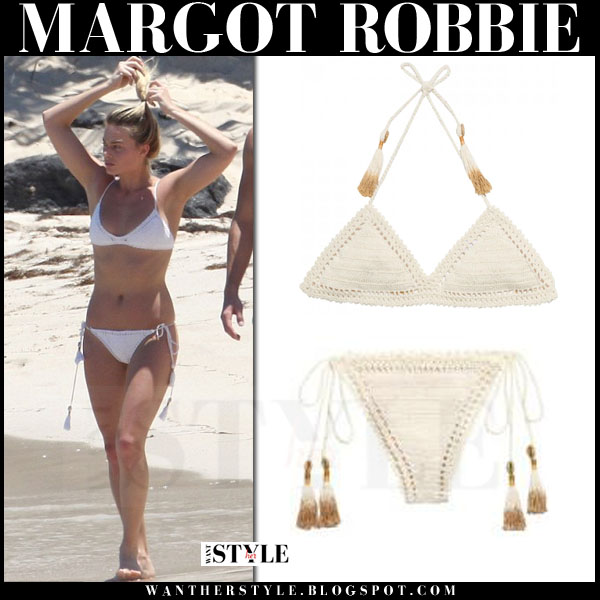 Margot Robbie in cream crochet bikini from She Made Me what she wore beach vacation style