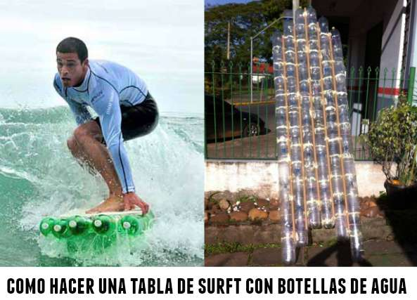 tabla de surft, botellas de plastico, reciclar, manualidades