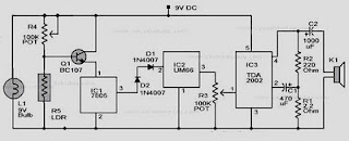 SMOKE DETECTOR CIRCUIT USING LDR SCHEMATIC DIAGRAM