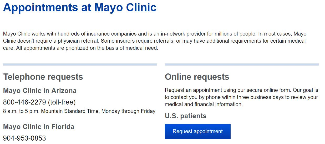 Mayo Clinic online appointment request