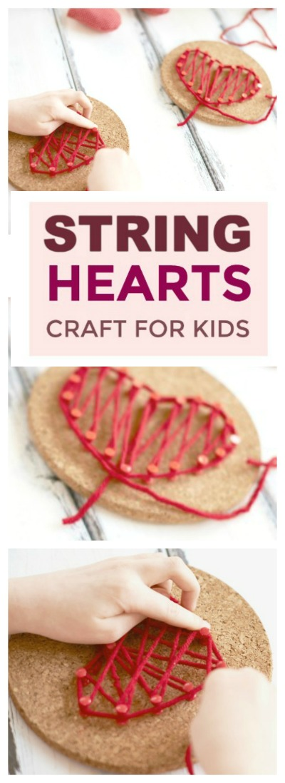 STRING HEARTS CRAFT FOR KIDS- beautiful!!  and so easy!  #heartcrafts #craftsforkids #valentinescraft