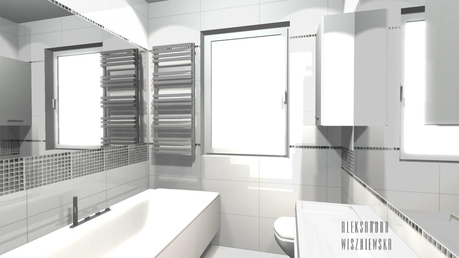 Projekty łazienek, wizualizacje: BIAŁA z lustrzaną mozaiką