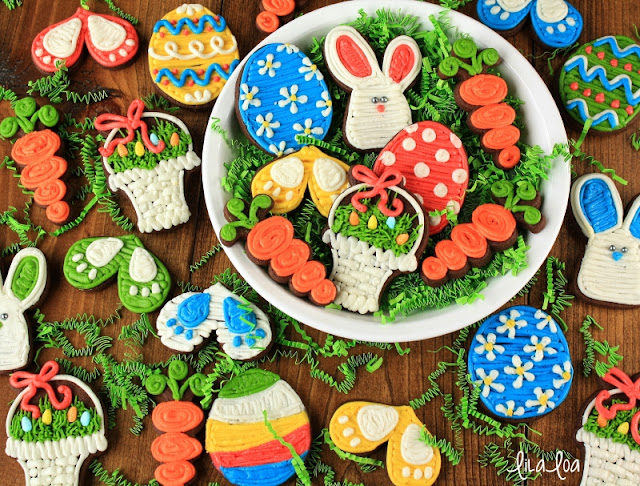 Decorated buttercream Easter sugar cookies - basket, egg, bunny, bunny prints and carrot cookies