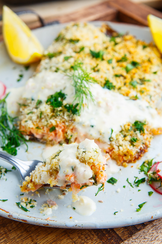 Parmesan and herb crusted salmon with lemon cream sauce for Parmesan crusted fish