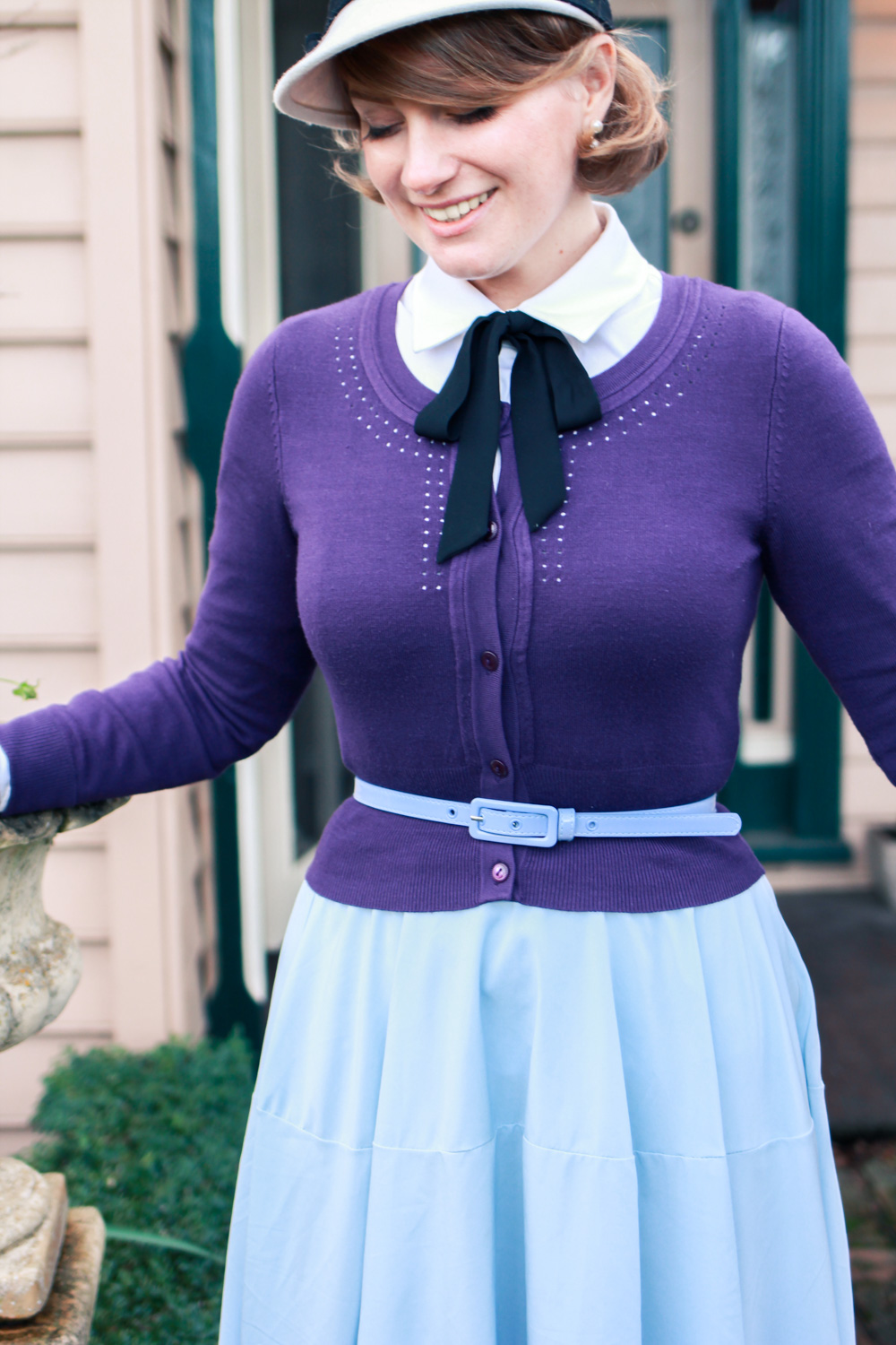 @findingfemme wears Review Australia, Alannah Hill and Chicwish purple cardigan and blue midi skirt.