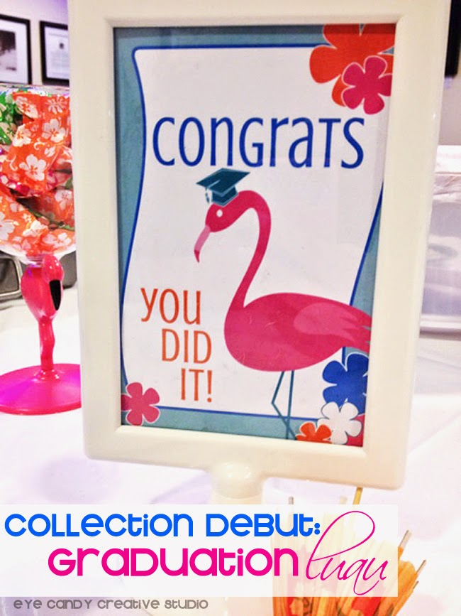 flamingos, grad cap, grad party, collection debut, graduation signs, graduation decor