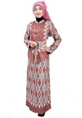 Model Gamis Batik Kombinasi Polos modern