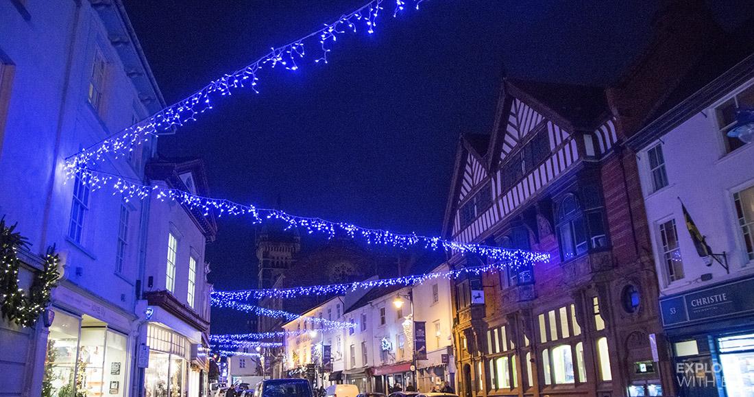 Abergavenny High Street at Christmas