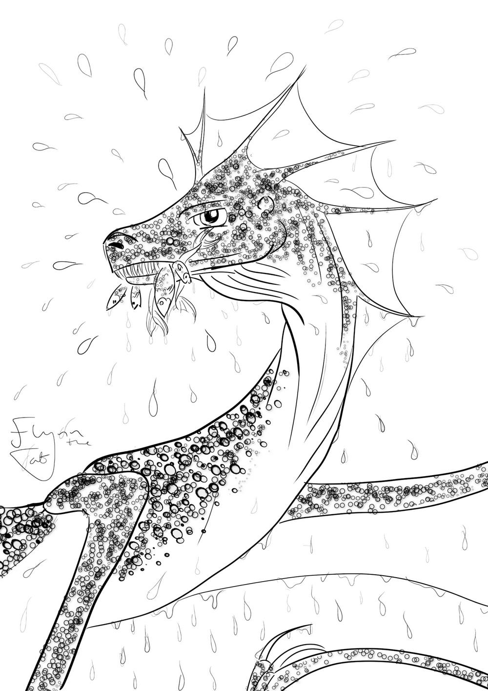 Fishing Dragon: Dragon Colouring Page | Colouring Page Art