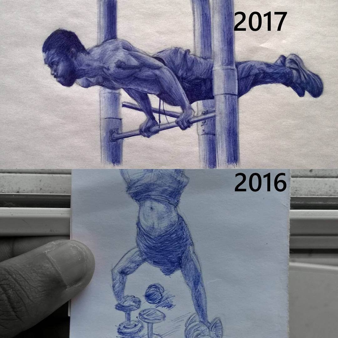 05-Exercising-Drawing-Progress-Larry-Tamara-Ballpoint-Pen-Portraits-Progression-Drawings-www-designstack-co