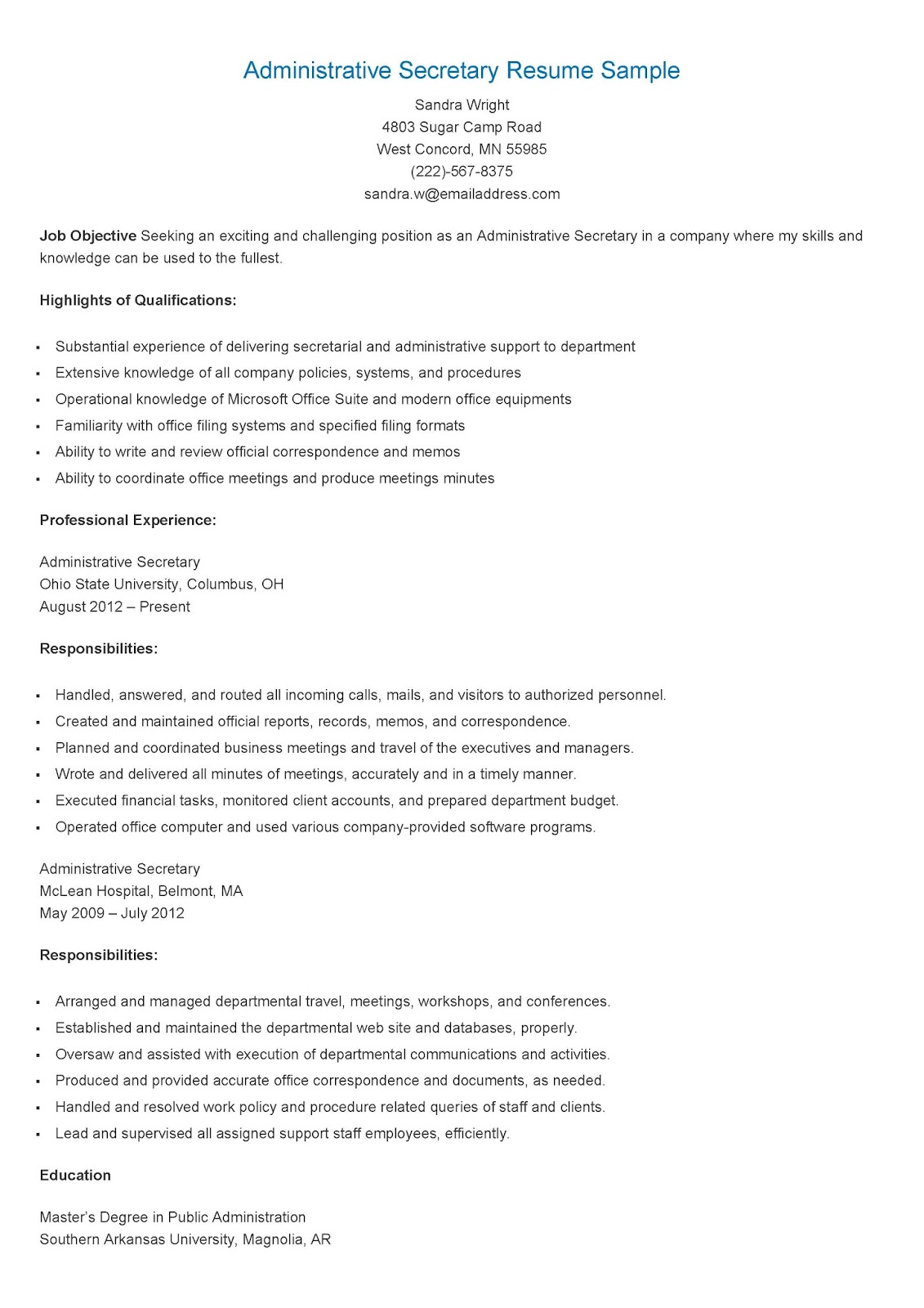 Resume Sample For Secretary Resume Samples Administrative Secretary Resume Sample