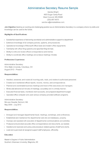 resume samples administrative secretary resume sample