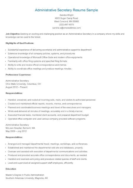Resume Samples Administrative Secretary Resume Sample