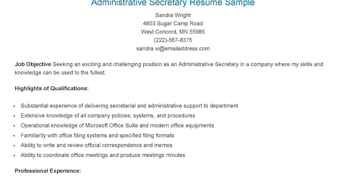 secretary resume highlights of qualifications