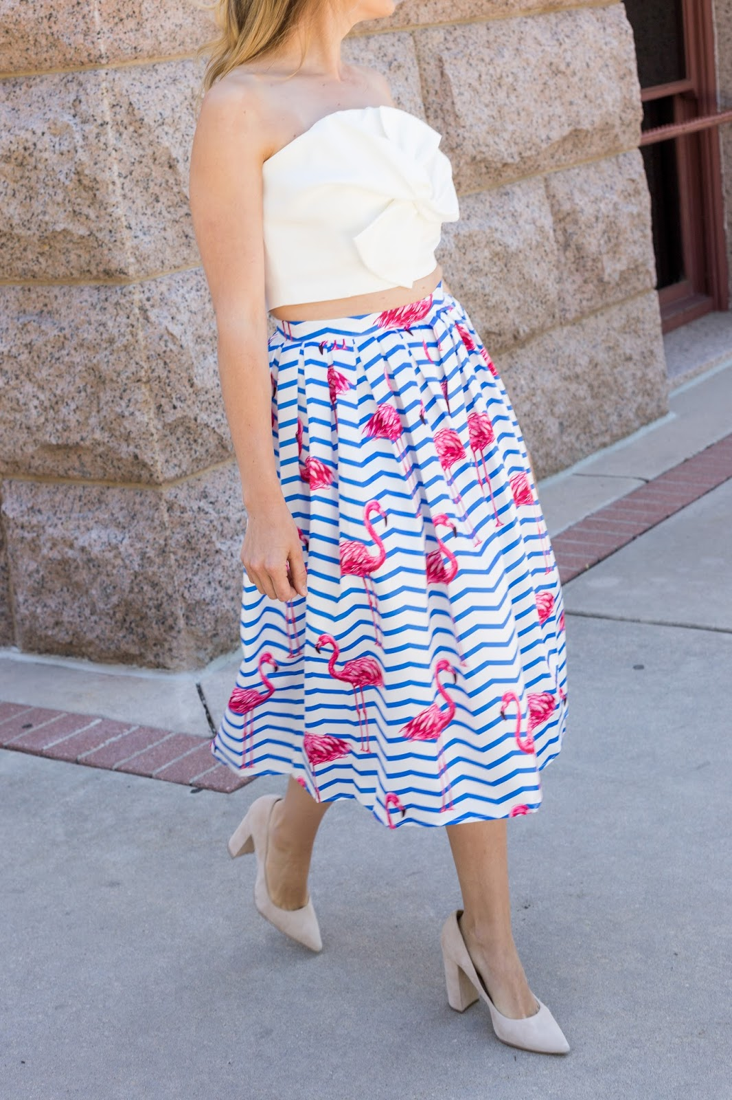 Bow Top with Flamingo Skirt