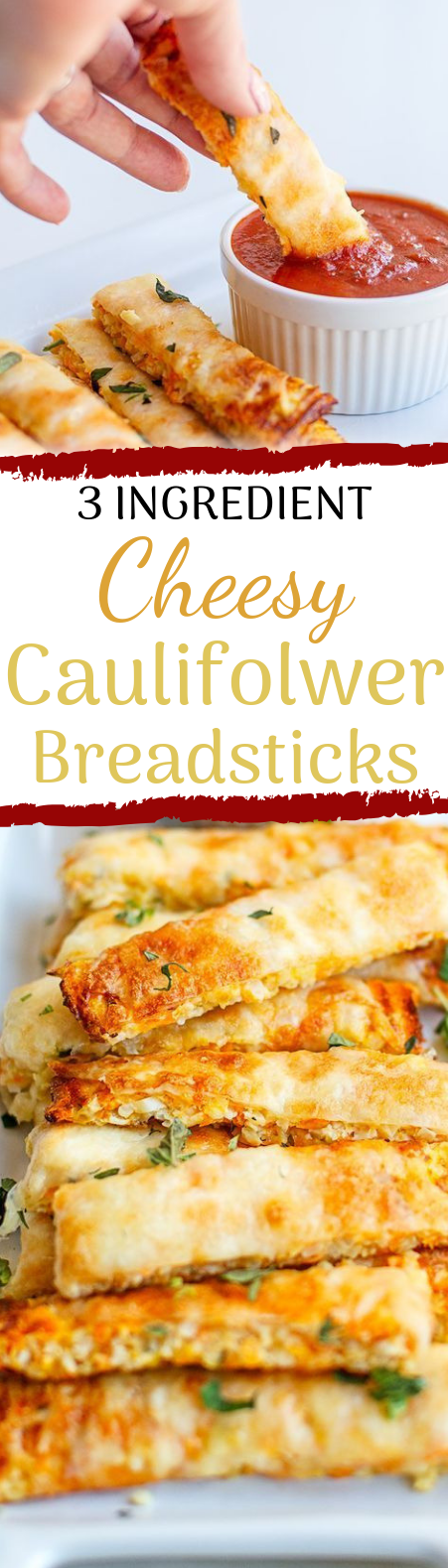 3 INGREDIENT CHEESY CAULIFLOWER BREADSTICKS #healthysnack #lowcarb