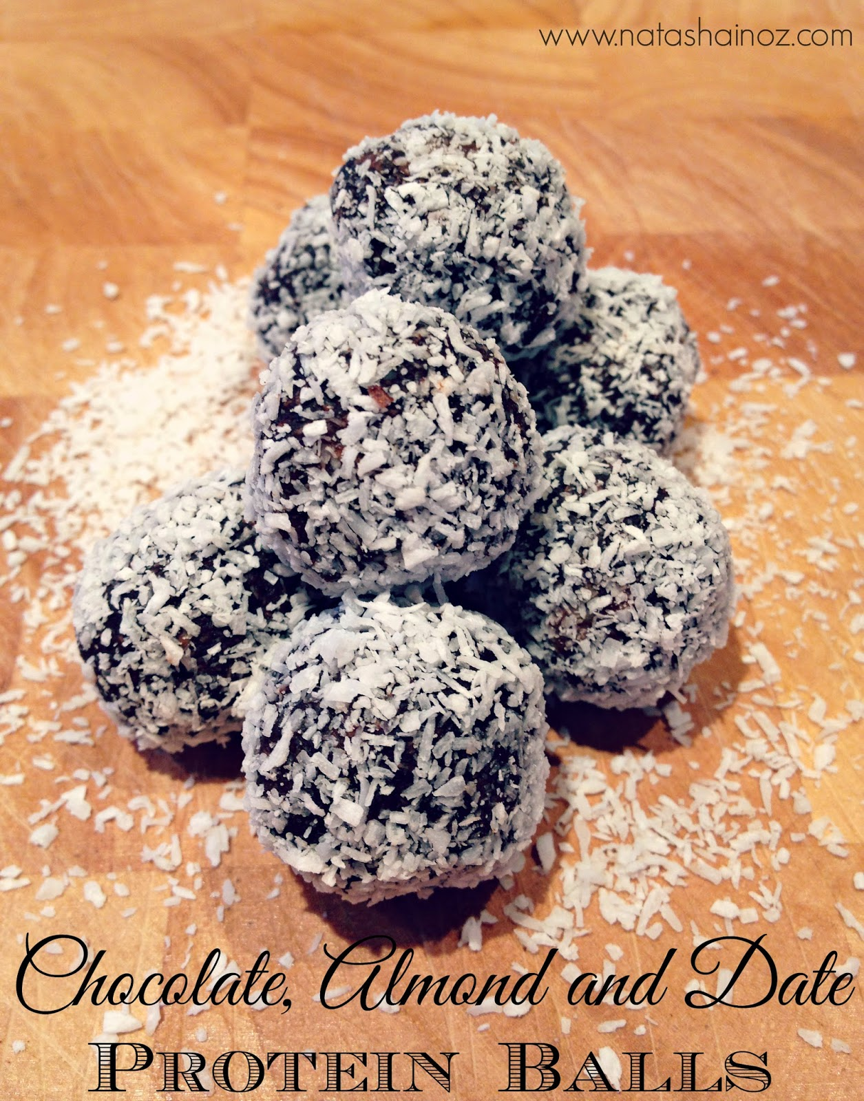 Chocolate Almond and Date Protein Balls via www.natashainoz.com