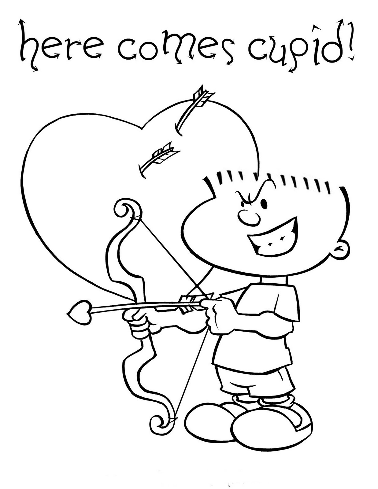 Valentines Cupid Printable Coloring Pages