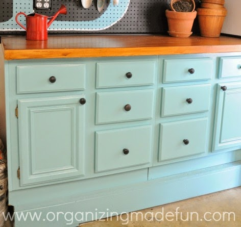 Potting Shed with turquoise cabinet :: OrganizingMadeFun.com