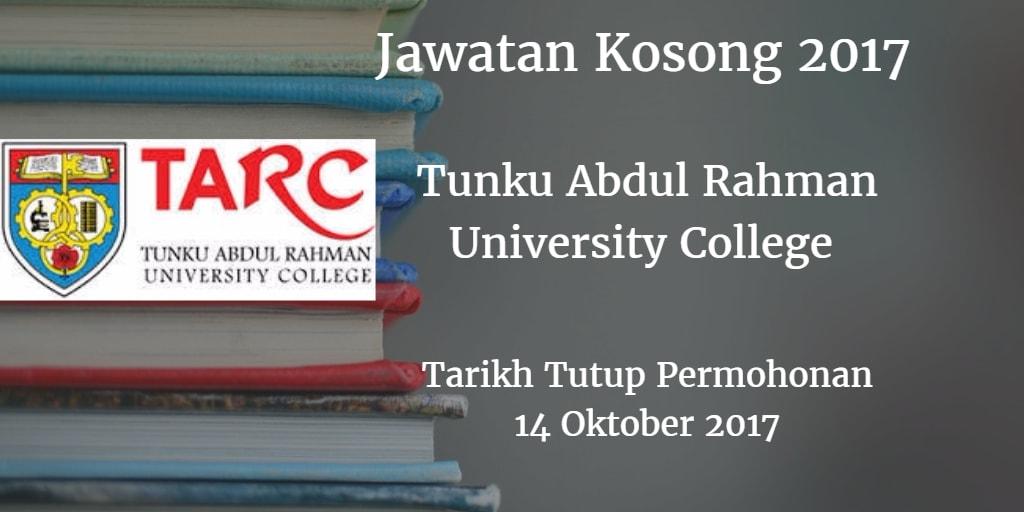 Jawatan Kosong TARUC 14 Oktober 2017
