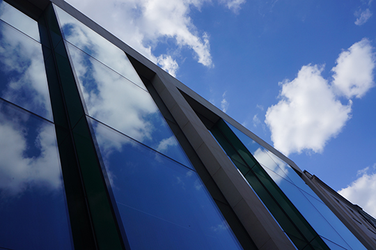 urban photography, cloud photography, blue skies, clouds, architecture, reflections, contemporary,