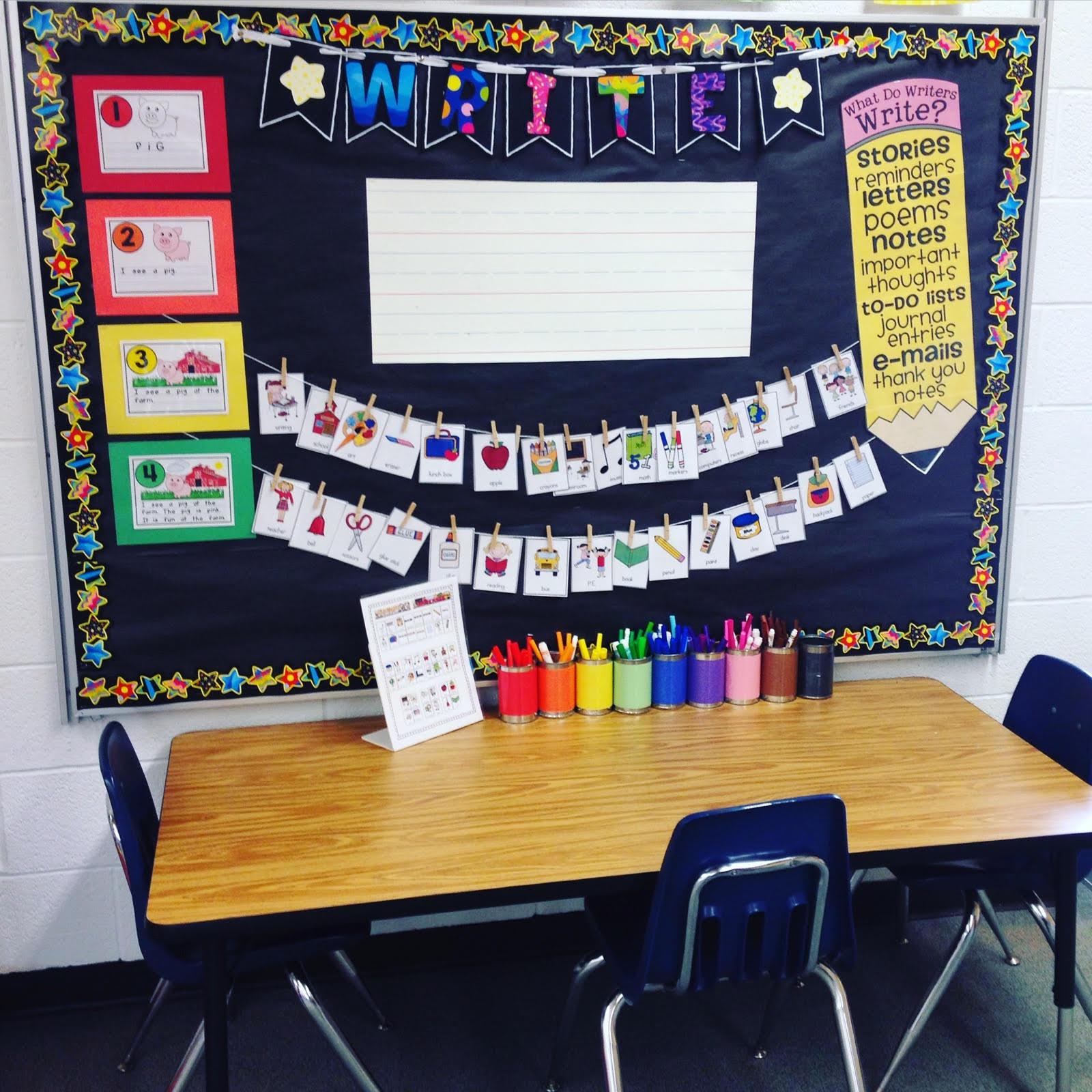 Teacher Designs Kindergarten Writing Center