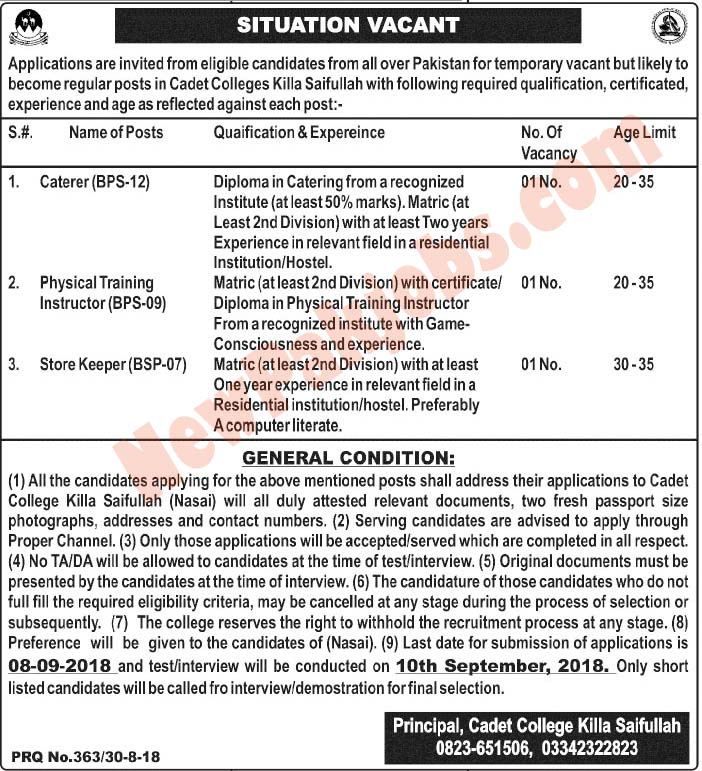 Cadet College Killa Saifullah latest Vacancies
