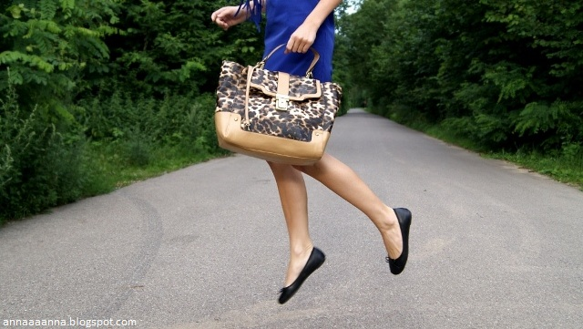 3365858022 annaa.  LEOPARD BAG   COBALT DRESS