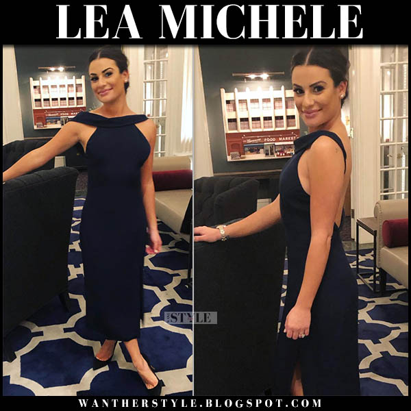 Lea Michele in navy midi dress cushnie et ochs at her engagement party celebrity style november 25