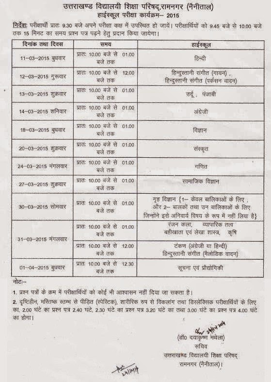 Uttarakhand Board Exams 2014-15 Date Sheet Class 10th