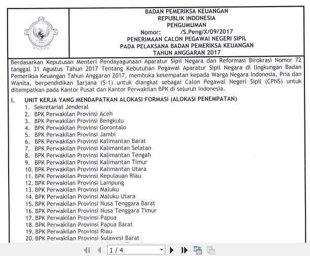 BPK - Soal dan Pendaftaran CPNS Badan Pemeriksa Keuangan 2017