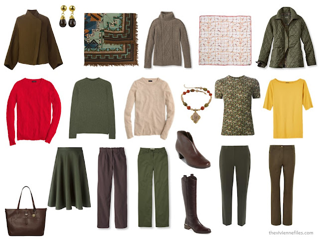 "13-Piece ""Whatever's Clean"" travel capsule wardrobe for cool weather, in brown and green with red and yellow accents"