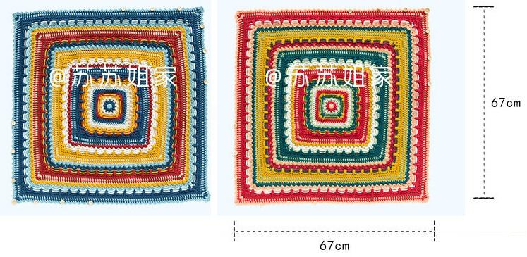 Схемы вязания пледа и подушки многоцветным узором (1)