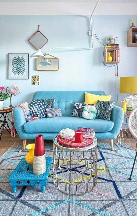 blue living room decoration idea