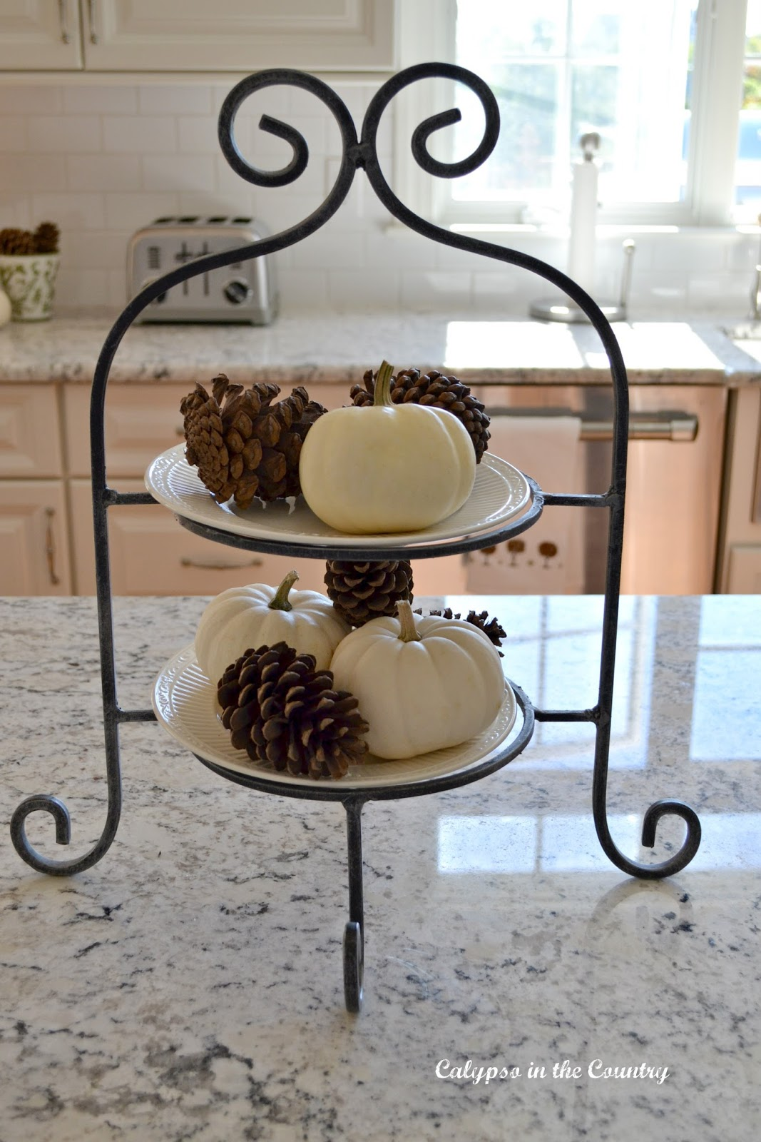 Wrought Iron Tiered Plate Stand with White Pumpkins and Pine Cones - White pumpkin vignettes