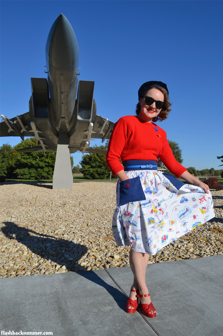 Flashback Summer: Mountain Home Air Force Base vintage style 1940s novelty print Fabric