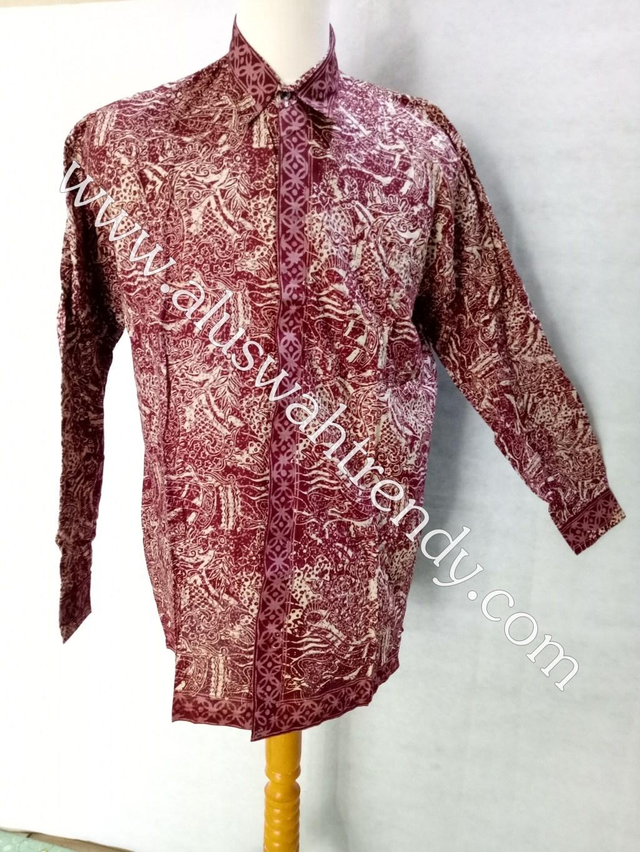 Kemeja Batik Pria Lengan Panjang 011 Merah Marun