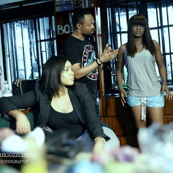 Omotola Jalade-Ekeinde on the set of a new movie