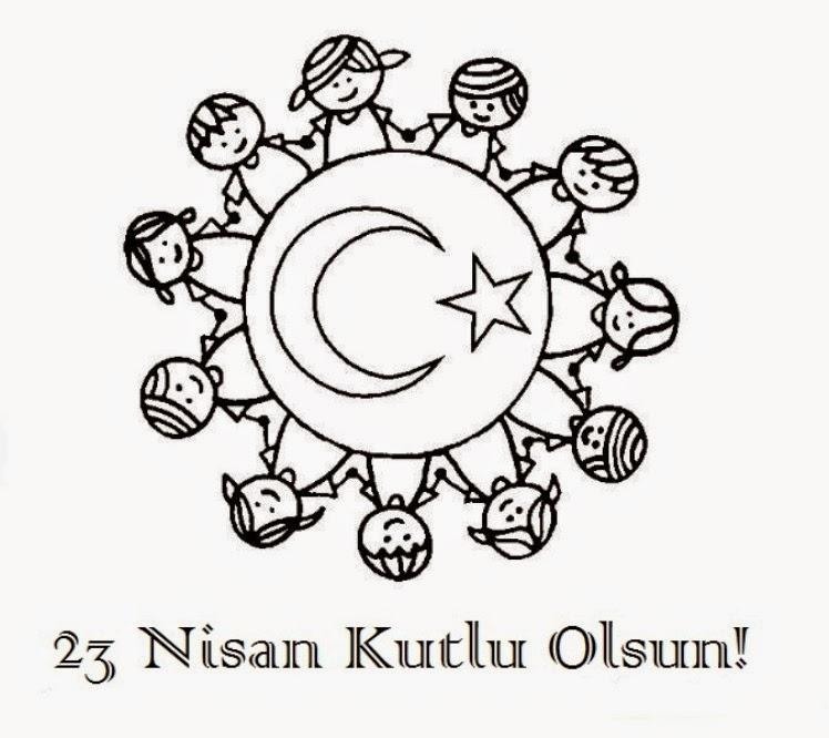 Original 23 Nisan Resmi Boyama Kolay Sayfalari
