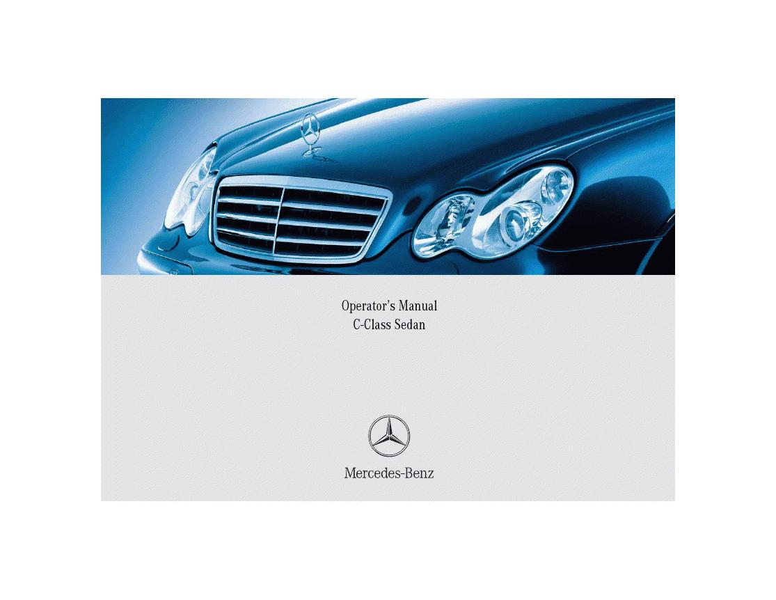 Mercedes-Benz C-Class Sedan Operator's Manual