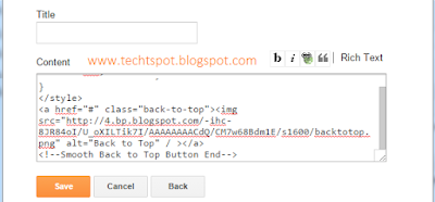 Add Back To Top Button Gadget To Blogger Blog 5