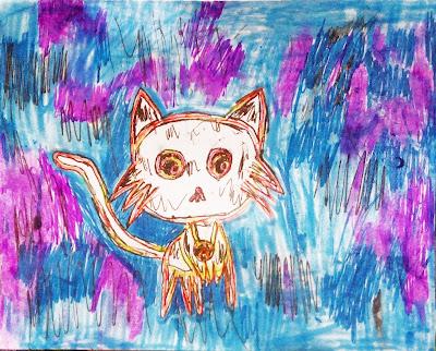 детский рисунок волшебный котик Морфей, проект 100 дней