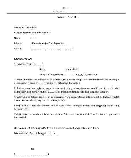 Contoh Surat Pindah Latihan Keluar Pengunduran Diri Klub